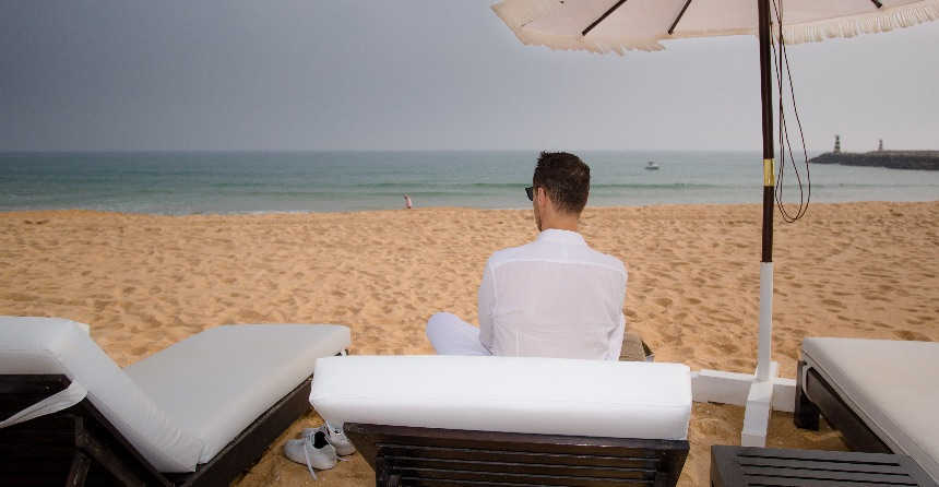 Watching the sea in Vilamoura, Portugal
