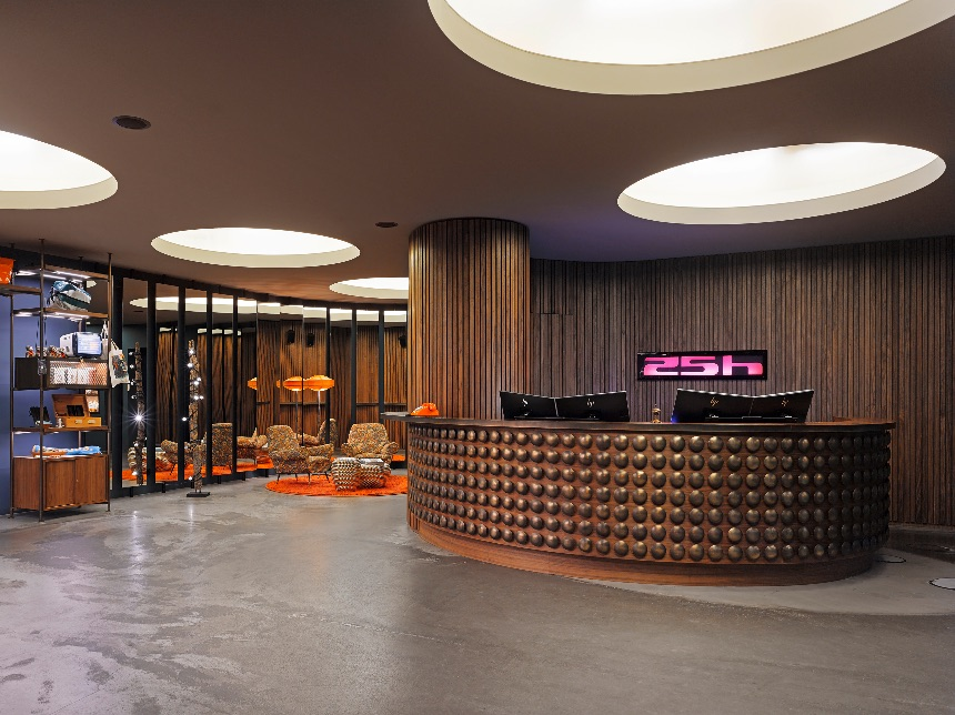 Lobby of the 25hours Hotel Number One in Hamburg